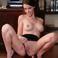 Sexy pornstar Raven Alexis strips at the office 7