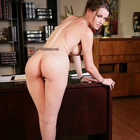 Sexy pornstar Raven Alexis strips at the office 16